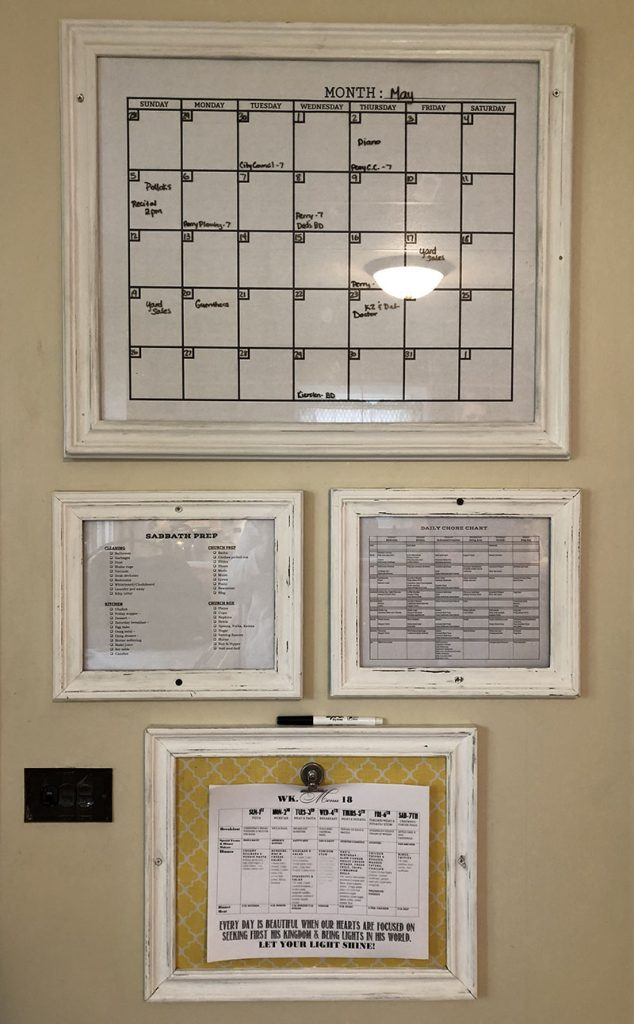 Calendar, Chore Charts, and Menu, made from old picture frames